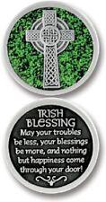 IRISH BLESSING Coin GLITTER  PEWTER Token Keepsake Medal  Protection Devotional
