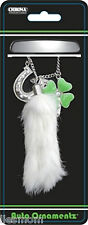 Lucky Charm Rabbits Foot, 4 Leaf Clover, Horseshoe Car Rear View Mirror Ornament