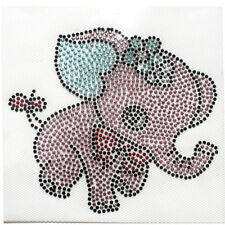 Rhinestone Iron on Transfer Hot fix Fashion Design Pink elephant 3 sheets