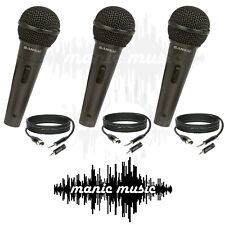 3x SANSAI Dynamic Microphone Mic + Free Cable + Adapter Karaoke Recording Studio