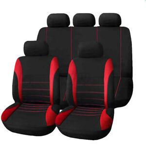 4/9 PCS Universal Car Seat Covers Full Set Sporty Blue/Black Washable