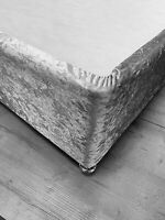 Silver Crushed Velvet Divan Bed Base Wrap Elasticated Sheet Frame Cover Double