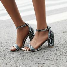 Women's Snake Pattern Ankle Sandals Mid Block Heels Open Toe Buckle Casual Shoes