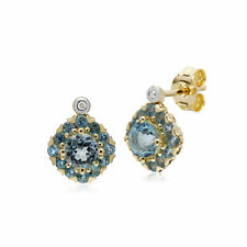 Gemondo 9Ct Oro Amarillo Redondo Topacio Azul&Diamante Cuadrado