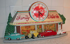 Vintage Burwood Family Drive-In Diner w/Coca-cola clock Usa battery operated