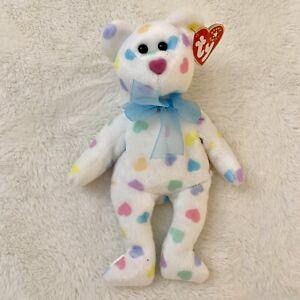 "TY Beanie Babies 2001 Kissme The Bear Stuffed Animal Plush 9"" New With Tag Heart"