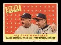 1958 Topps Set Break # 475 Casey Stengel-Fred Haney All Star VG *OBGcards*