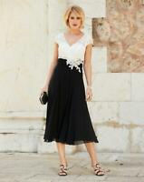 NIGHTINGALES Black/Ivory Dress With Lace Detail  UK 16  US 12   EU 44   (CC27-5)