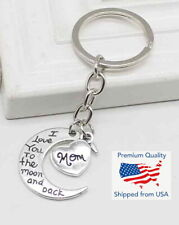 I Love You to The Moon and Back Mom Mother's Day Heart Keychain Key Ring Gift