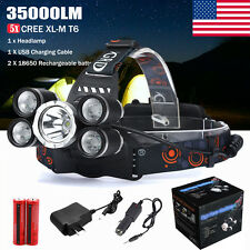 35000LM 5x XM-L T6 LED Headlamp Rechargeable Headlight 18650 Head Light Set USPS