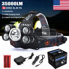 35000LM 5x XM-L T6 LED Headlamp Rechargeable Headlight 18650 Head Torch Lamp Set