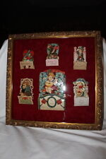 6 STAND UP VINTAGE VALENTINES PRO. FRAMED PICTURE IN WOOD SHADOW BOX GOLD GILT
