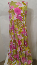 Vintage Handmade Colorful Floral Print Sleeveless Guset Side Panel Maxi Dress 36