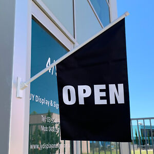 Black Open Flag Kit - Wall Mounted Small Open Sign Flag Banner - Ship Today!