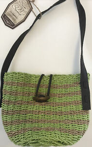 Crossbody Sun n' Sand Lime Woven Straw Faux Leather Strap Purse Hook Closure NWT