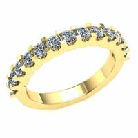0.8 Ctw Round Cut Diamond Ladies U-Prong Wedding Half Eternity Ring 10k Gold
