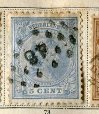NETHERLANDS;  1891 early classic Wilhelmina issue used 5c. value