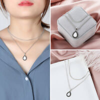 Women Double Layer Choker Antique Silver Chain Necklace Water Drop Pendant