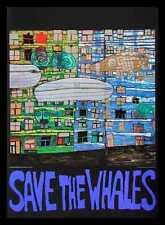 Hundertwasser Save the whales Poster Bild Kunstdruck & Alurahmen schwarz 59x84cm
