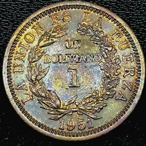 BOLIVIA Bronze 1951-KN 1 Boliviano BU. TONED. 1 YEAR TYPE KM# 184.