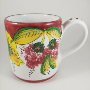 HAND PAINTED Italian Pottery Mug - Colorful Mediterranean Fruit 10oz Coffee Cup