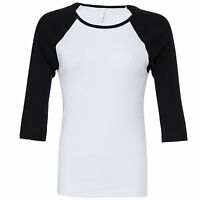 Womens Ladies 3/4 Sleeve Raglan Baseball Casual T Shirt Tee Jersey Top 8 - 16
