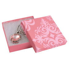 50 Pink Damask Print Cotton Filled Jewelry Boxes Retail Gift 3 X 3 X 1