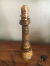 LAMPE PHARE VEILLEUSE EN BOIS et métal doré   BORD DE MER VINTAGE hauteur 31 cm