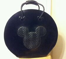 Rare MICKEY MOUSE ALL LEATHER TOTE LUGGAGE BAG ZIP UP HAT BOX STYLE NICE!