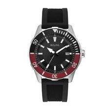 Bulova 98B348 Men's 44mm Case Quartz Black Rubber Strap Black Dial Watch