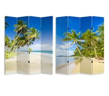 180cm Large Panels Canvas Room Divider Screen Foldable Double Sides Beach & Sky