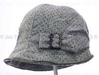 Ladies Bucket Cloche 20s Flapper Party Chemo Hair Loss Cotton Polka Dot Deep Hat