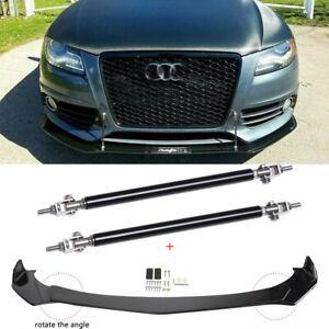 For AUDI A3 A4 A5 A6 A7 B8 S4 S5 Front Bumper Lip Spoiler Splitters + Strut Rods