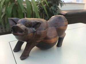 Carved Wooden Pot Bellied Pig - VGC