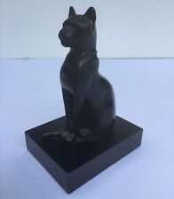 Miniature Carved Black Cat on Stand