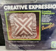Creative Expressions Chocolate Gingham Frost Spider Lace Kit Pillow 1984 #4837