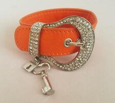 Orange Leather and Rhinestone Belt Bracelet w/ Silver Tone Lock and Key Charm