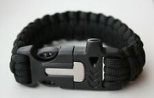 Military Black Paracord Survival Bracelet With Whistle And Fire Starter. (B)