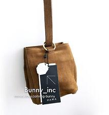NWT ZARA Genuine Leather Shoulder Bucket Bag Mini Messenger Brandy Tan 8002/004
