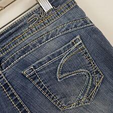 Silver Camden Rose Bell Bottom Flare Wide Leg Women's Blue Jeans Sz 27 x 29