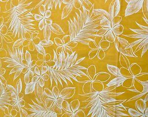 "Tropical Fabric Piece 44""w x 144""l Bright Yellow Plumeria & Tropical Foliage"