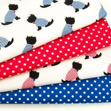 Fat Quarter Fabric Bundle SCOTTIE DOG & SPOTS Kids Polycotton Material Remnant