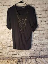 Vince Women's Shirt Size XS Black Chain Short Sleeve t73