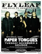 """Flyleaf /Paper Tongues 2009 """"The Road To Memento Tour"""" Seattle Concert Poster"""