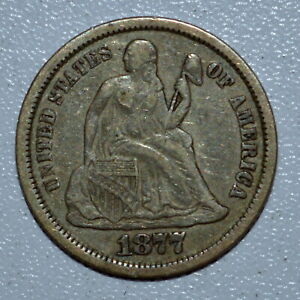 1877-CC SEATED LIBERTY DIME ✪ VF VERY FINE ✪ 10C CARSON CITY L@@K NOW ◢TRUSTED◣