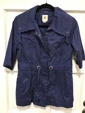 TULLE Anthropologie Women's Medium Blue Purple Short Sleeve Jacket Cinch Waist