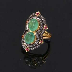 925 Sterling Silver Pave Diamond and Red Ruby & Emerald Handmade Amazing Rings,
