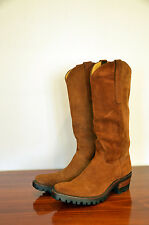 BACK AT THE RANCH COWBOY BOOTS CUSTOM HANDMADE SUEDE LIGHT BROWN VIBRAM 9 - 9.5