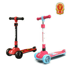 Kids Folding Kick Scooter For Girls Boys Ages 3-11 Wide Flashing Wheels Phoenix