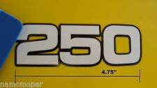 250 cc WHITE ON BLACK decal for MX 1.5 x 4.75 inches wide, a 2 layer sticker